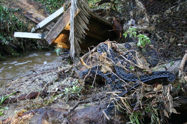 Broken bench and destroyed bridge 1000 pound bridge!